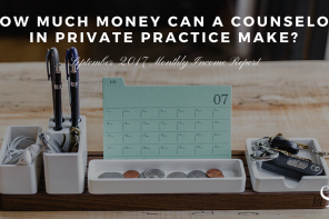 How much money can a counselor in private practice make? September 2017 Monthly Income Report