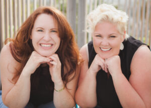 A photo of Kelly Higdon and Miranda Palmer is captured on The Practice of the Practice Podcast. They are the founders of ZynnyMe, and they help other therapists build a successful private practice and a happy life.