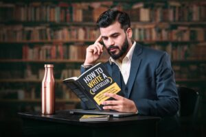 A photo of Vikrant Shaurya is captured. He is interviewd by Sam Carvalho on the Marketing A Practice Podcast where he speaks about how writing a book establishes your authority.