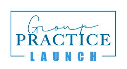 A photo of Group Practice Launch, a membership community for the solo private practice owner who wants to start a group practice. It is featured on The Practice of the Practice Podcast, a therapist podcast, as the sponsor.